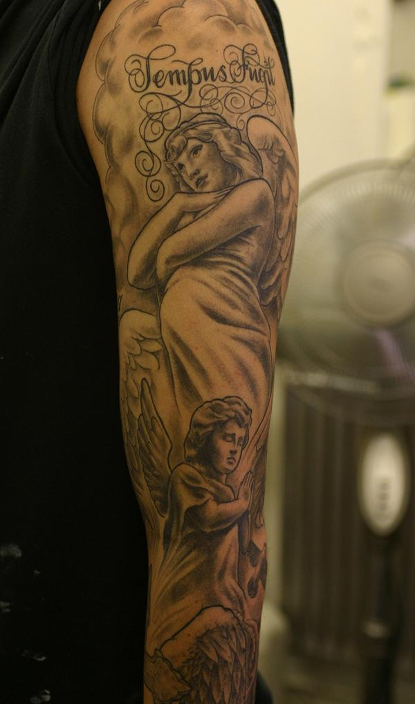Tempus Fugit cherub Tattoo - 50+ mát Sleeve Tattoo Designs <3 <3
