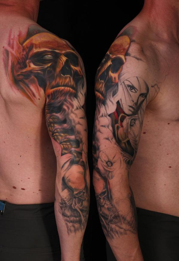 2b7281577 skull sleeve tattoo - 60 Cool Sleeve Tattoo Designs <3 <3 ...