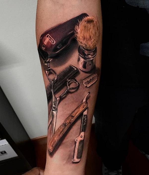 3D Barber tools tattoo