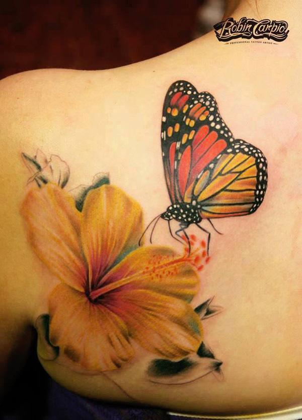 60 amazing 3d tattoo designs cuded tattoona for Flower and butterfly tattoo