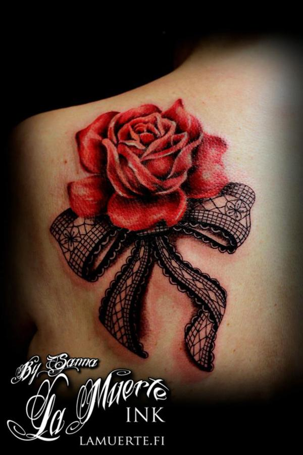 3D Rose and lace rose tattoo