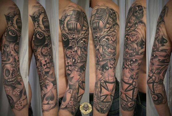 59dd826f4 Sleeve Micro Music Skull cards - 60 Cool Sleeve Tattoo Designs <3 <3 ...