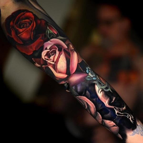 f16f7bdf8 Full sleeve tattoo for women. Realistic Floral Sleeve by Nikko Hurtado - 60  Cool Sleeve Tattoo Designs <3 ...