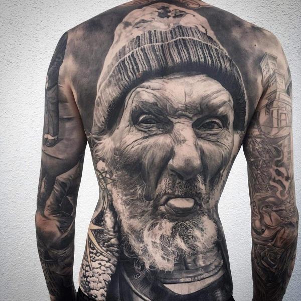 Stunning fullback portrait tattoo