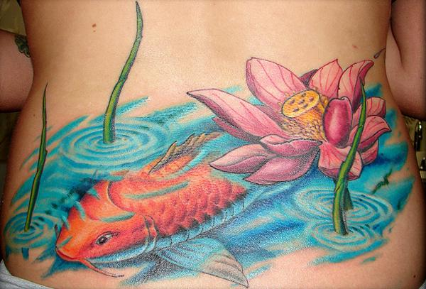 koi-back-sen-xăm - 50 elegent Lotus Tattoo Designs <3 <3
