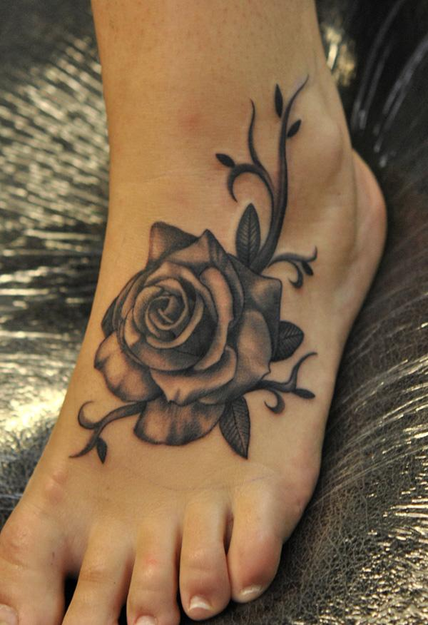 Black Rose Foot Tattoo 50 Awesome Designs 3