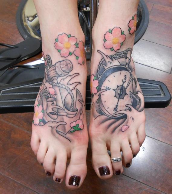 Compass and Anchor Matching Tattoo