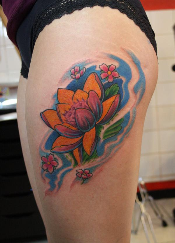 Lotus đùi - 50 elegent Lotus Tattoo Designs <3 <3