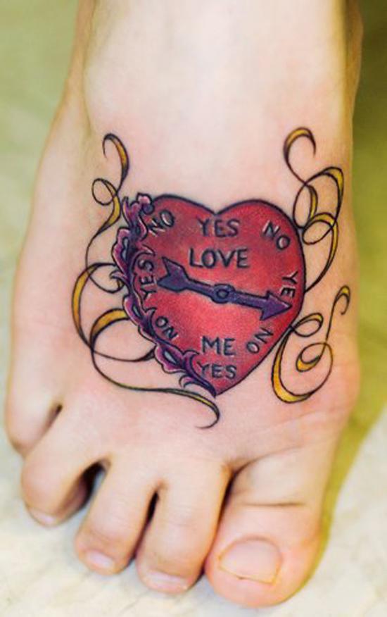 hình xăm trái tim trên bàn chân - 50 ảnh vui nhộn Tattoo Designs Foot <3 <3