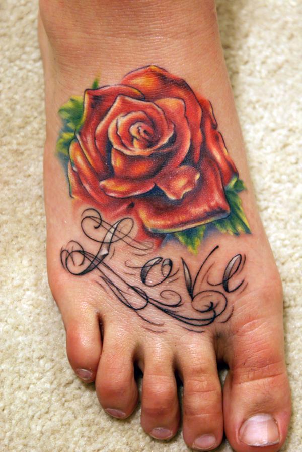 hồng đỏ hình xăm trên chân - 50 ảnh vui nhộn Tattoo Designs Foot <3 <3