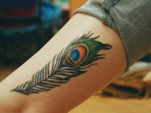 Peacock Feather Ankle Tattoo