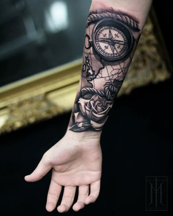 6679e64666418 3D Compass and rose - 100 Awesome Compass Tattoo Designs ...