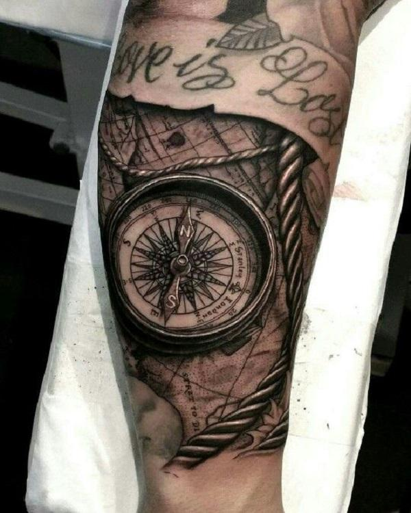 100 Awesome Compass Tattoo Designs | Art and Design