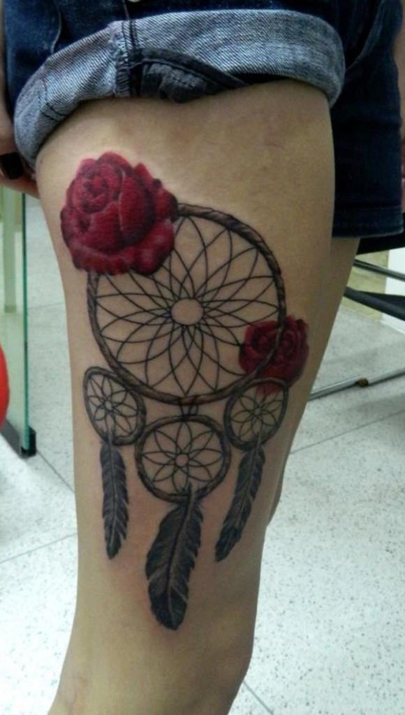 Dreamcatcher with feathers tattoo