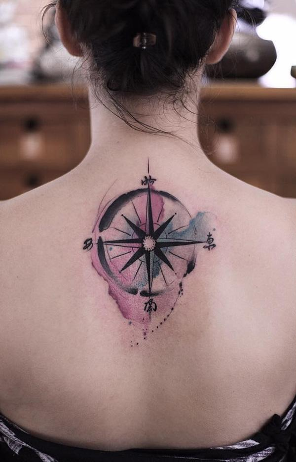 28342944b6fd8 Beautiful watercolor compass back tattoo - 100 Awesome Compass Tattoo  Designs ...