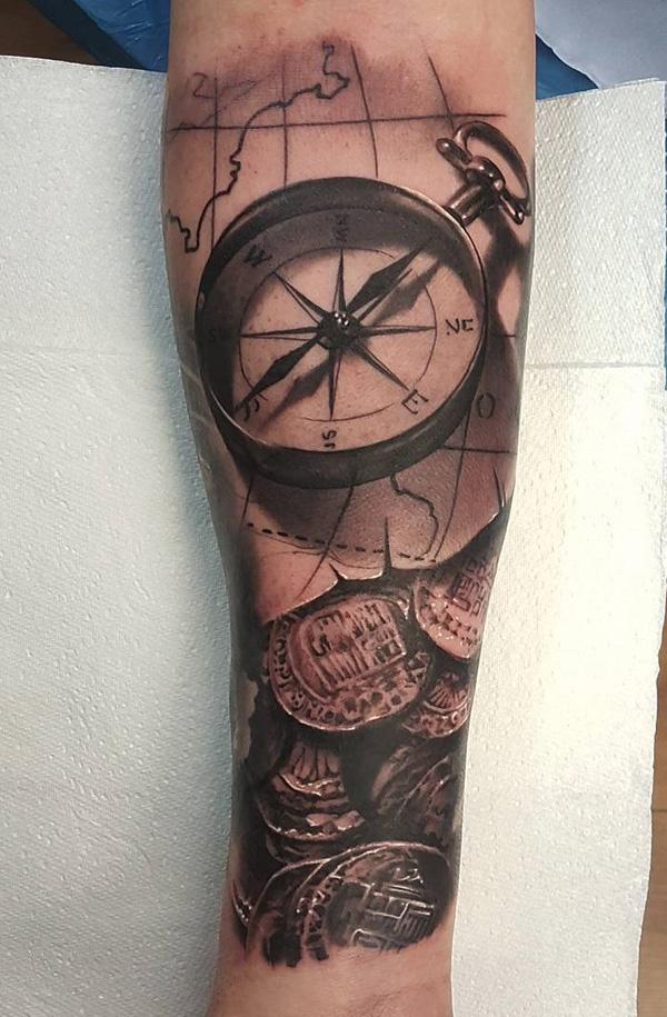 compass-and-coin-tattoo-78