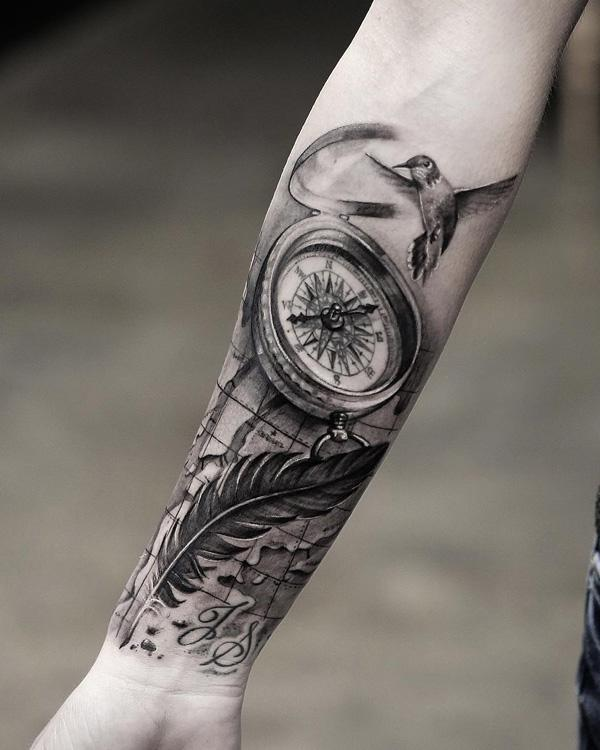 compass-and-feather-forearm-tattoo-64