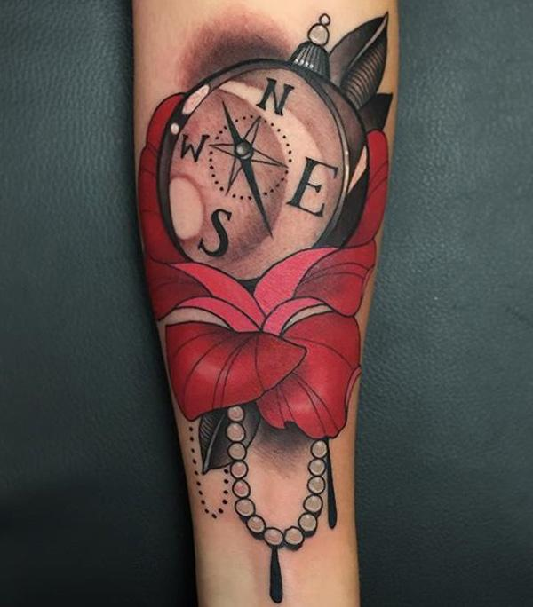 compass-and-flower-tattoo-49