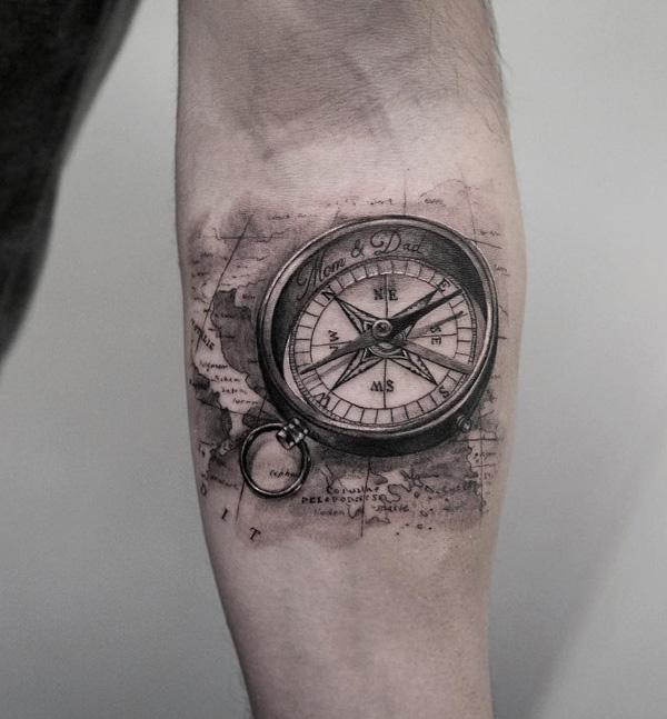 100 awesome compass tattoo designs art and design compass and map tattoo 100 awesome compass tattoo designs gumiabroncs Choice Image