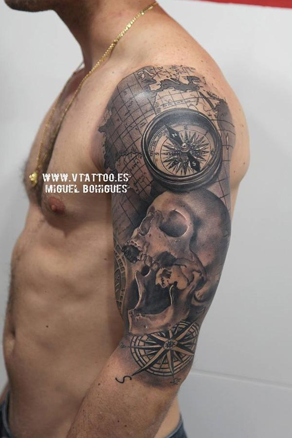 compass-with-skull-sleeve-tattoo-42
