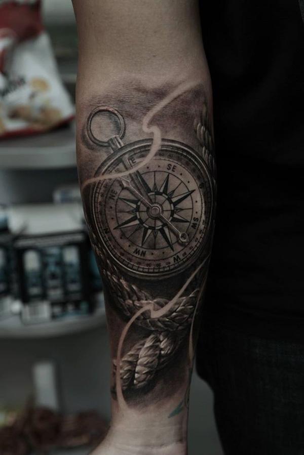 realistic-compass-forearm-tattoo-41
