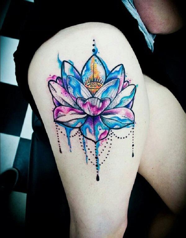 a44fd0328475e Watercolor lotus thigh tattoo - 70 Elegant Lotus Tattoo Designs ...