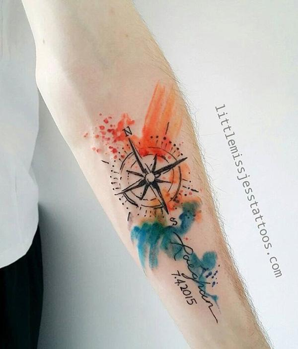 4f2300f22 100 Awesome Compass Tattoo Designs | Art and Design