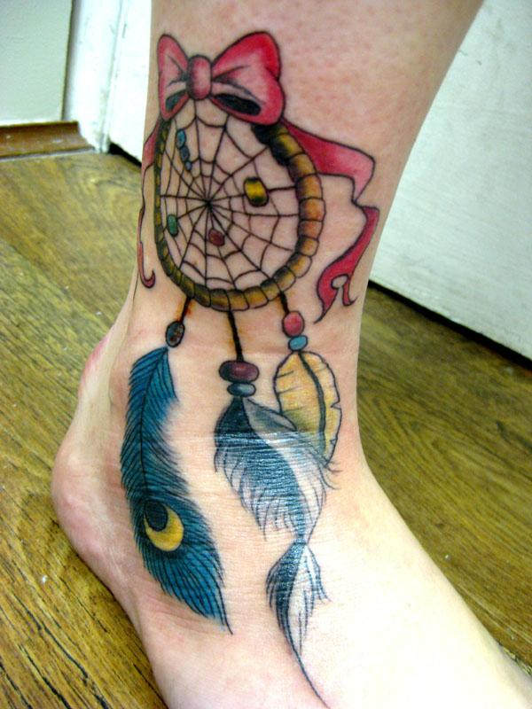 40 Dreamcatcher Tattoo Designs For Women Art And Design Enchanting Dream Catcher Foot Tattoo