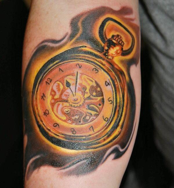 75aa26caa golden poket watch - 100 Awesome Watch Tattoo Designs <3 <3 ...