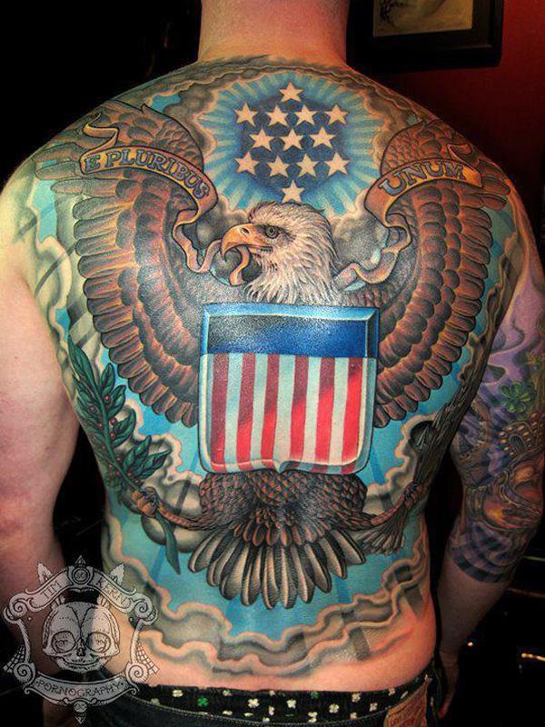 3080e78b5 American Eagle fullback tattoo - 25 Awesome American Flag Tattoo Designs <3  <3 ...