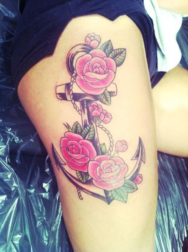 Simple Flower Tattoos on Thigh Anchor Flower Tattoo Thigh