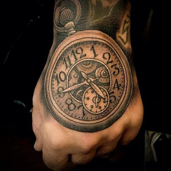 30 incredible clock tattoo designs for Pocket watches tattoos