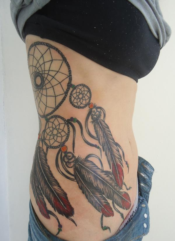 40 Dreamcatcher Tattoo Designs For Women Art And Design Interesting Dream Catcher Tattoos On Side