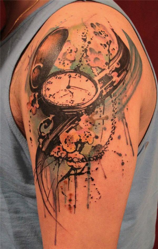 The gallery for broken clock tattoo meaning for Pocket watches tattoos