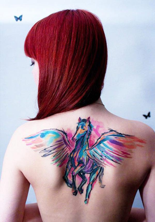 Watercolor Pegasus tattoo