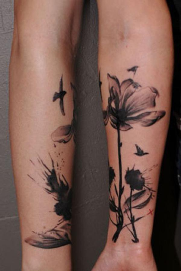 back tattoos anchors ancora bows tattoo for girls Dandelion Bird Tattoo On Side