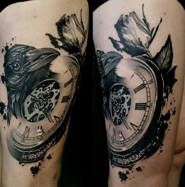 clock-and-crow-thigh-tattoo-76