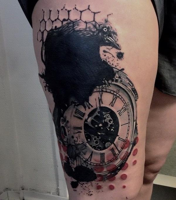 grandfather clock face tattoo. clock and crow thigh tattoo grandfather face k