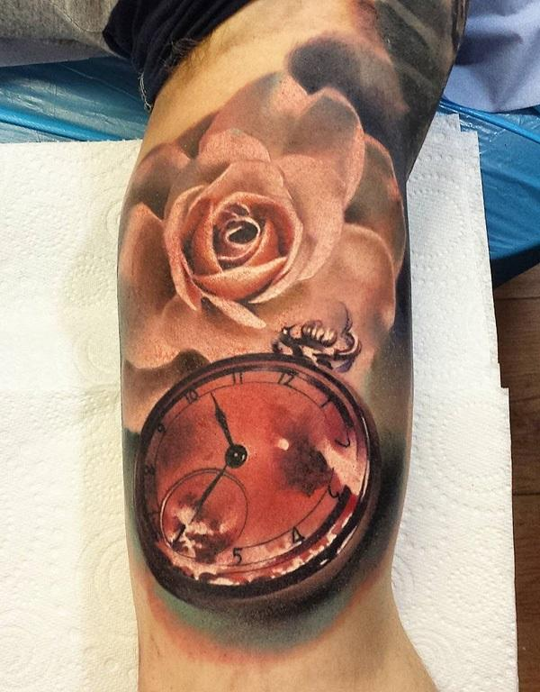 colored-3d-pocket-watch-and-rose-tattoo-48