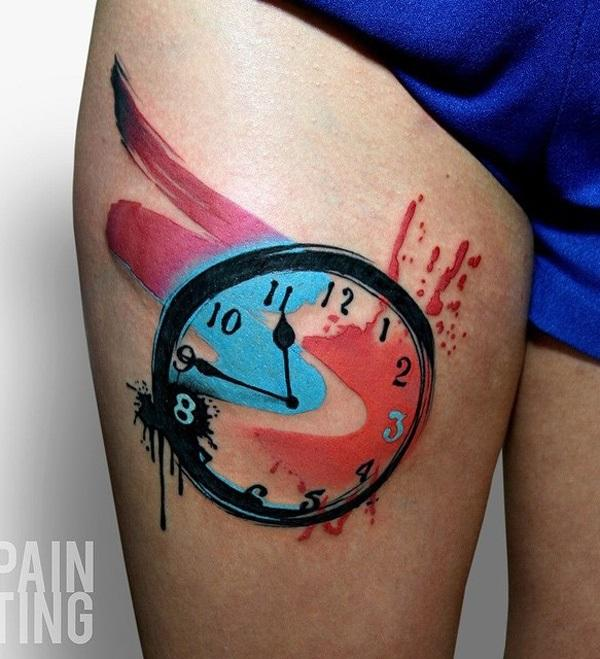 colorful-clock-thigh-tattoo-87