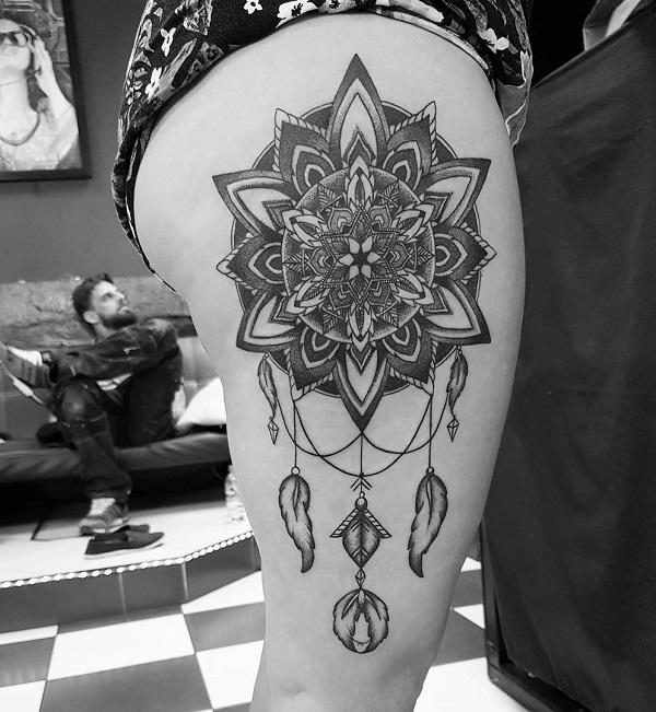 daffa01bf Mandala and dreamcatcher thigh tattoo - 60 Dreamcatcher Tattoo Designs for  Women ...