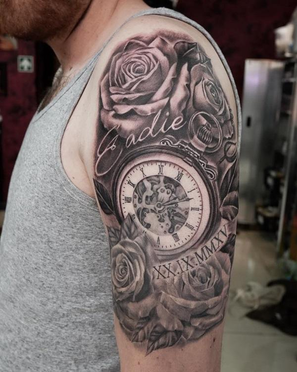pocket-watch-and-rose-half-sleeve-tattoo-95