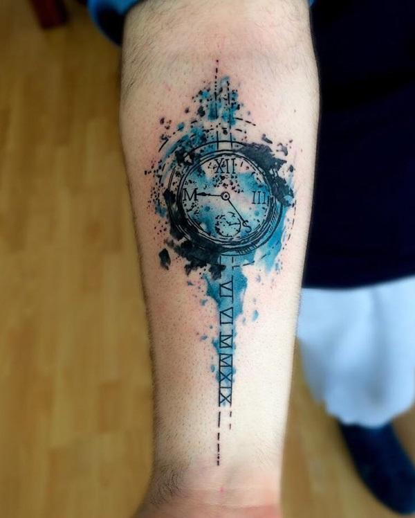 watercolor-clock-forearm-tattoo-86