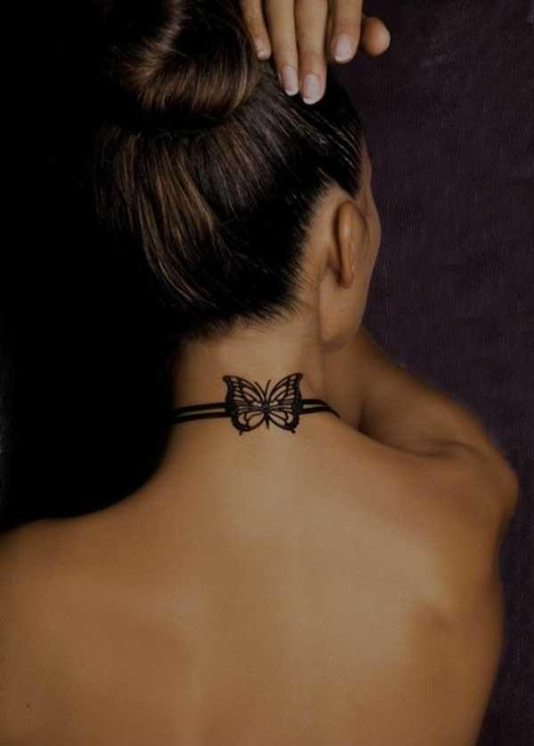 butterfly neck tattoo-for girls