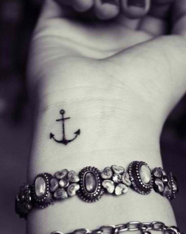 cute anchor wrist tattoo design