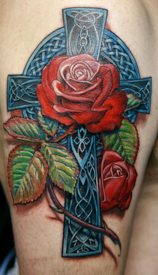 Celtic Rose Cross Tattoo