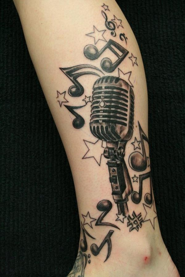 Music Crazy Micro Tattoo   Excellent Collaboration Of Music Elements,  Notes, Micro, ...