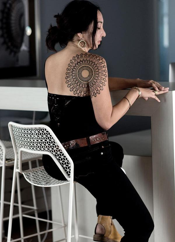 Mandala upper back tattoo