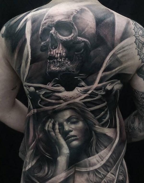 3D Skull and portraits fullback tattoo