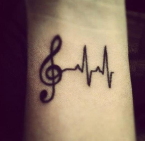 Small music note and heartbeat tattoo
